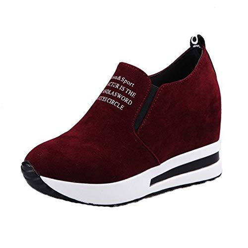 Wedge Heel Shoes Slip On Comfort for Women Casual Sneakers Spring Fall Chunky Shoes Pointed Toe Office Shoes Red