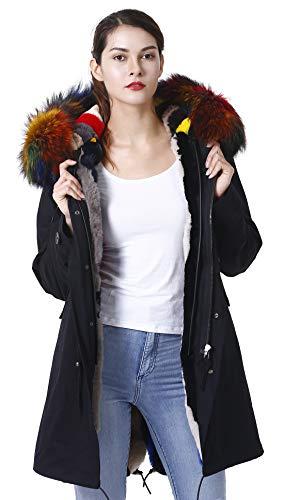S.ROMZA Women Real Raccoon Fur Collar Parka Real Fur Liner Long Hood Coat (XX-Large, Khaki Collar+Khaki Liner)