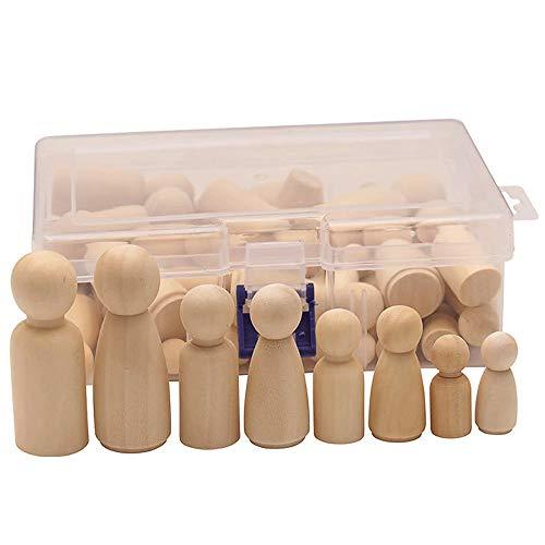 Gurxi DIY Puppenkörper DIY Holzfiguren Puppen Natürliche Holz Dolls Basteln Puppen Spielfiguren für Geburtstag Dekoration Bemalen Basteln Basteln Holz Puppen Mann Frau Junge Mädchen Kinder 50 Stück