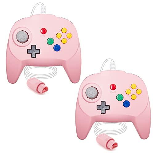[Nueva versión] 2 paquetes para controlador N64, mando de juego para N64 – Plug & Play (versión USB no PC) (Joystick del Japón), color rosa