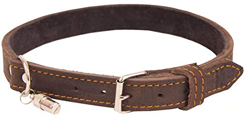 Akah Halsband genietet aus Ölleder Hundehalsband für Jagdhunde aus Echtleder mit Adressanhänger Lederhalsband pflanzlich gegerbt mit Ziersteppung von oefele.de (50 cm)