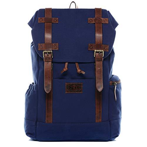 SID & VAIN Rucksack Canvas & Leder Chase groß Laptoprucksack Backpack Tagesrucksack Laptopfach 15.6