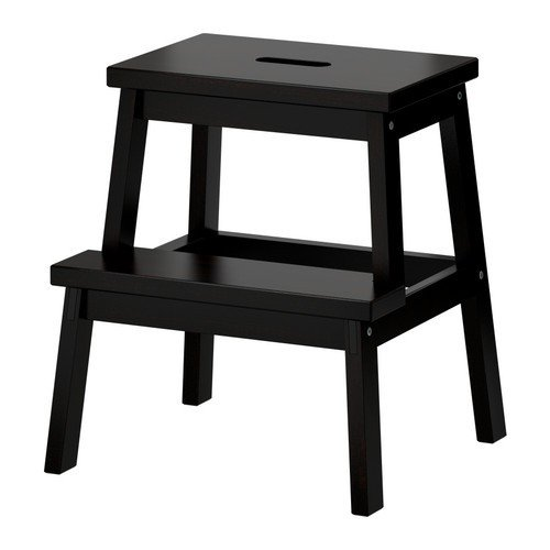 Ikea BEKVÄM Tritthocker in Schwarz; aus massiver Buche