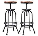 32 inch Vintage Industrial Bar Stool-Metal Wood Swivel Bar Stool-Retro Bar Height Stool-Counter Height Adjustable Kitchen Stools-Set of 2-Extra Tall Pub Height 26-32 Inch,Fully Welded(Black(2pcs))