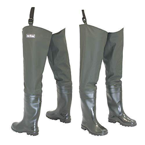 FortMen Watstiefel Herren Anglerhose mit Stiefel wasserdichte Wathose Größe Gr. 44 Lange Watthosen Gummistiefel Fishing Boots Angeln