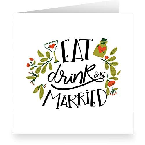 Grappige retro trouwkaart in 70s look binnen wit (vierkant 15,5 cm + envelopp) met Love Potion: Eat drink & be married-grote XL felicitatiekaart voor bruiloft voor familie, vrienden, medewerkers 12 Grußkarten