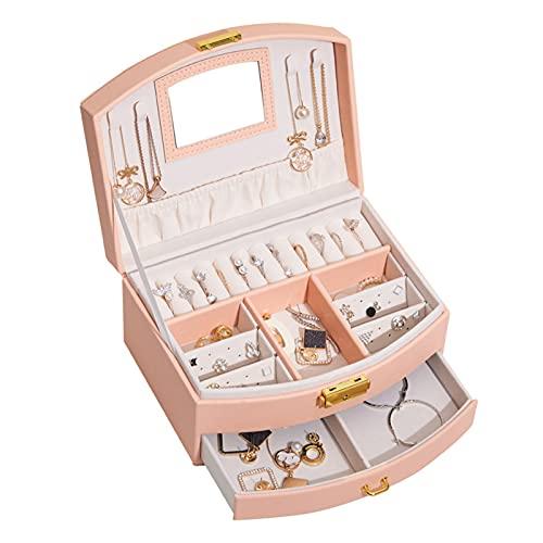 Grebest Joyero de gran capacidad de múltiples capas con caja de joyería de bloqueo portátil de moda de gran capacidad tipo cajón caja de joyería multicapa pulsera caso para el hogar rosa