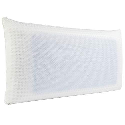 Ortho-Relax Nackenstützkissen aus Visko-Schaum (Memory Foam) - Nacken stützendes Kopfkissen 40x80-11cm hoch - Kissen inkl. waschbarer Kissenbezug (Blue Air)