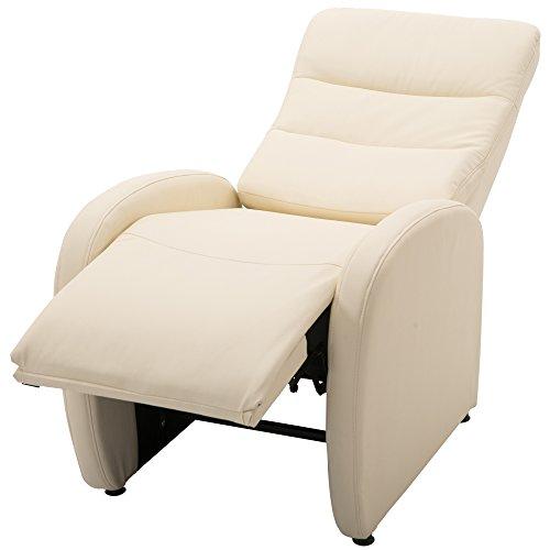homcom Poltrona Relax Reclinabile con Poggiapiedi Moderna Portata 120kg Ecopelle 67 × 89 × 110cm Crema
