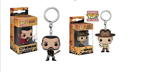 2 llaveros Funko 21189 The Walking Dead: Negan & Rick POP, figura, Rick Grimes & Negan