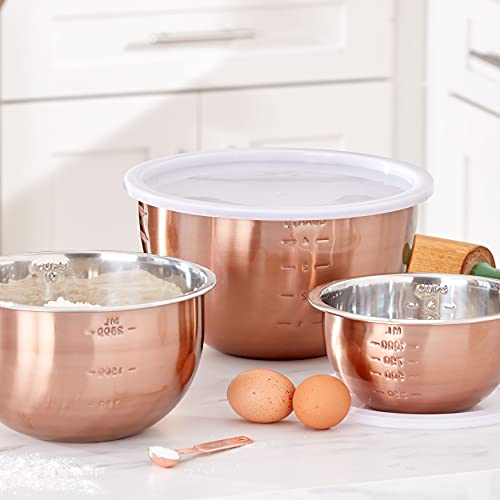 BrylaneHome 6 Piece Set Of Copper Mixing Bowls & Lids, Copper Brown