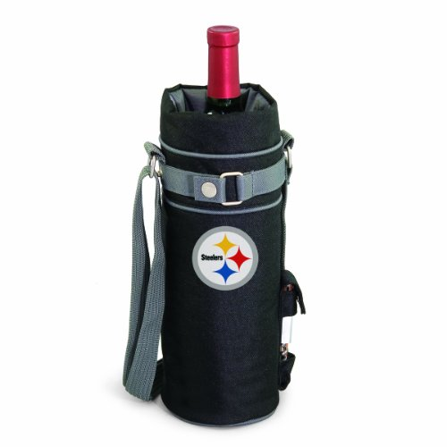 NFL Pittsburgh Steelers Insulated Single Bottle Wine Sack with Corkscrew