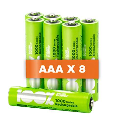 100% PeakPower 8 x Pilas Recargables AAA 800 mAh NiMH | Pilas AAA Recargables Que Vienen precargadas Listas para Usar | Bajo Nivel de autodescarga