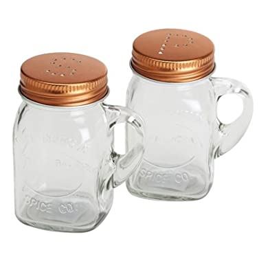 Salt and Pepper Shaker Set Mason Jar with Copper Lid, glass handle, clear box