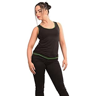 3Elfen Back Less Summer Top Black Tee Woman Wing T-Shirt Designed Ladies Pluz Size Clothing - Trendy Modern Casual Loose Fitted - Sleeve Less - Black Dark Green XL:Canliiddaa