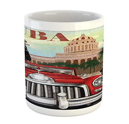 N\A Kuba-Becher, Land-Tourismus-Werbung-Thema Weinlese-Design-Zigarre rauchender Mann und tanzendes Mädchen, Keramik-Kaffeetasse-Tasse für Wasser-Tee-Getränke, 11 Unze, weiches Rot