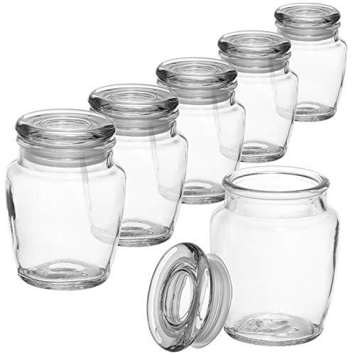 COM-FOUR® 6x kruidenpot set met glazen deksel, voorraadpot, glazen flacon, snoeppot set, opslag van oliën, specerijen, kruiden of thee ca. 160 ml (06 stuks - voorraadpot)