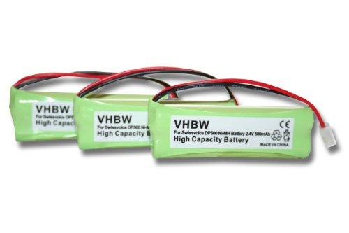 vhbw 3X NI-MH Akku 500mAh (2.4V) passend für Festnetz Telefon Medion MD83242, MD83282 ersetzt VT50AAAALH2BMJZ, GP1010, GPHC05RN01.