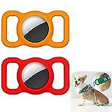 SITAILI Estuche Protector para Mascotas De 2 Piezas para Apple Airtag, Localizador Antipérdida De Bucle para Collar De Perro Y Gato con GPS (Red+Orange)