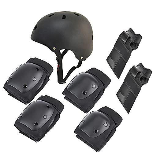 Montloxs Traje de Protecciones para Montar en Scooter eléctrico Bicicleta eléctrica Patinaje Kit de Protecciones de Seguridad Protecciones para muñequeras Rodilleras Coderas Cascos Traje Protector