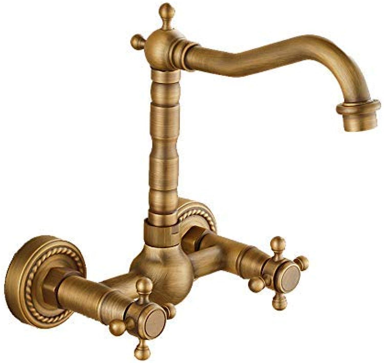 Hjbds atemberaubende Luxus Becken Wasserhahn, Messing erhht Becken heien und kalten Wasserhahn Waschbecken Waschbecken Wasserhahn (Farbe  Bronze hoch)