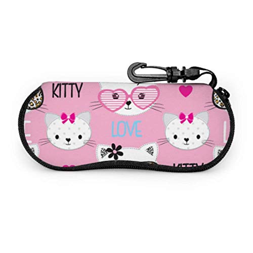 Estuche para gafas Estuche de gafas Animal Cat Love Heart Eyeglasses Case Soft Zipper Neopreno Gafas de sol Bolsa de protección para gafas