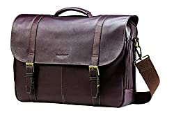top rated Samsonite Columbia Leather Laptop Flip Shoulder Bag, Brown, One Size 2021