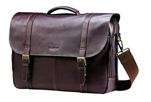 Samsonite Colombian Leather Flap-Over Messenger Bag Laptop, Brown, One Size