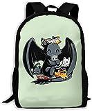 TTmom Mochilas Tipo Casual,Bolsa de Viaje Toothless Dragon and Cats Unisex Backpack Shoulder Bag School Backpack Travel Bags Laptop Backpack