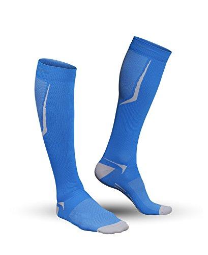 Strammer Max atmungsaktive Funktionssocken - Kompressionsstufe 2, Compression Socks Sports Line für Männer (hochwertiges Emana Gewebe), Farbe: Blau (XL)