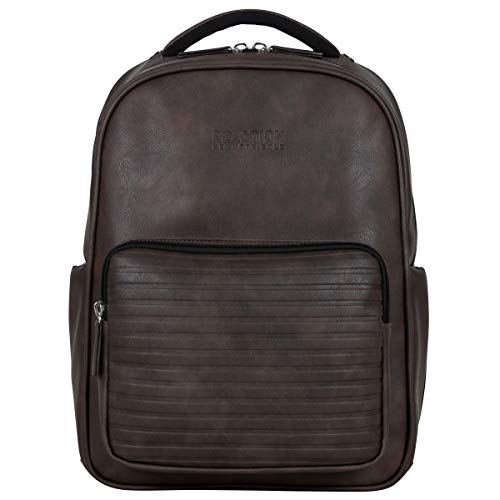 "Kenneth Cole On Track Pack Vegan Leather 15.6"" Laptop & Tablet Bookbag Anti-Theft RFID Backpack for School, Work, Travel, Brown, Laptop"