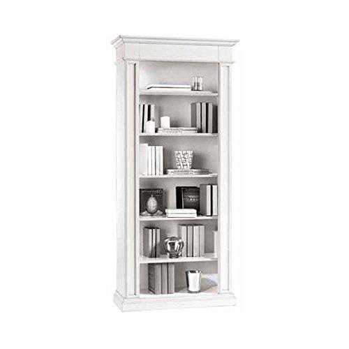 InHouse srls Libreria, Arte povera, in Legno massello e MDF con rifinitura in Bianco Opaco - Mis. 93 x 40 x 205