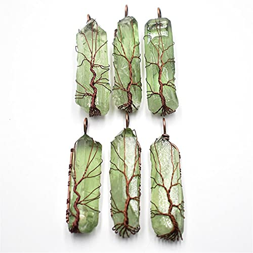 YSJJMES Edelsteinperlen Natürliche grüne Fluorit-Säule Anhänger Handgemachte antike Kupferdraht Wickelte Baum des Lebens 6 stücke