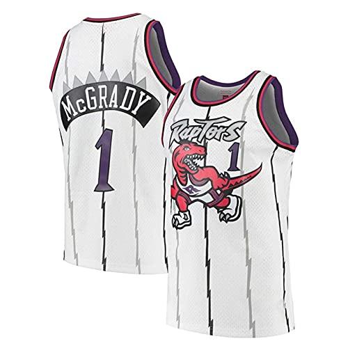KKSY Jersey Tracy McGrady # 1 Retro NBA Jersey Toronto Raptors Baloncesto Jersey Sin Mangas Entrenamiento Ropa Deportiva,B,XXL