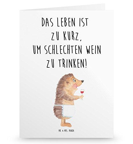 Mr. & Mrs. Panda Geburtstagskarte, Einladungskarte, Grußkarte Igel mit Wein mit Spruch - Farbe Weiß