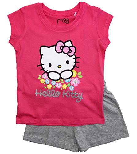 Hello Kitty Schlafanzug Mädchen Shortie Pyjama Kurz (Fuchsia-Grau, 110-116)