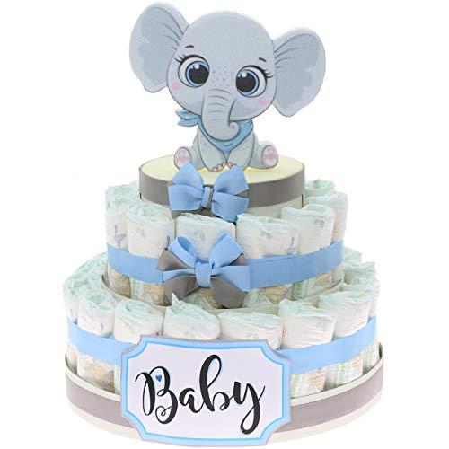 Viale Magico Tarta de pañales con diseño de elefante Effye para niño, idea regalo para nacimiento, económica, idea regalo de nacimiento, económica, original (tarta de 30 pañales)