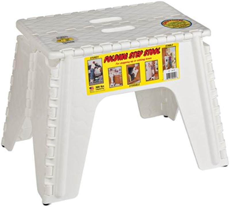 B R Plastics 103 6WH E Z Foldz Folding Step Stool 12 White