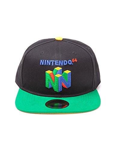 Difuzed Nintendo Snapback Cap N64 Logo Basecap Baumwolle schwarz /grün