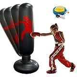 Saco de Boxeo Inflable, Saco de Boxeo de Pie para Niños con Hinchador Incluido para Practicar Karate, Taekwondo y Aliviar Pent Up Energy en Niños (Black)