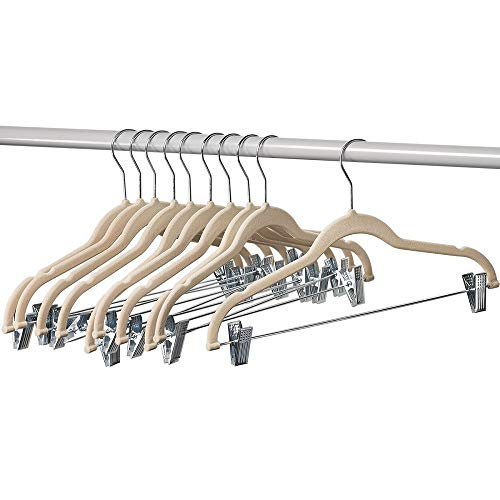 Home-it 10 Pack Clothes Hangers with clips - IVORY Velvet Hangers for skirt hangers - Clothes Hanger - pants hangers - Ultra Thin No Slip