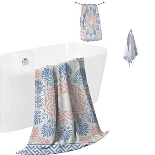 Greek Key Beach Towel Set Pastel Pink White and Blue Round Floral Grecian Fret Hellenic Ornament Shower Hand Face Washcloths Baby Blue Blush White