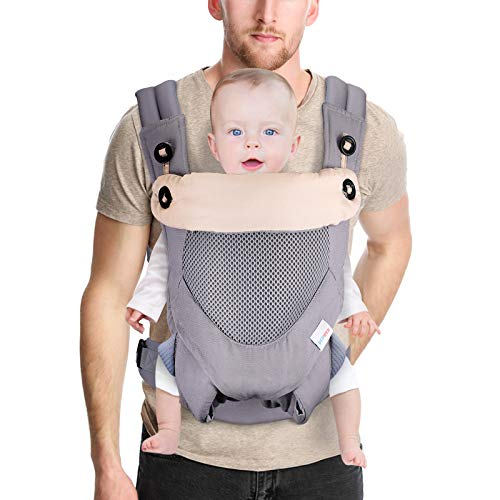 DTOWER Baby Carrier, Ergonomic Baby Wrap Carrier with Hood, Soft & Breathable Baby Front Carriers, Convertible Backpack Front and Back for 3-36 Month Newborn Babies, Infant, Toddler Up to 44 lbs