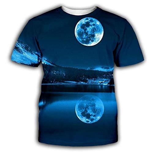 Night Sky Moon River Reflection Camiseta De Hombre 3D Impresa De Manga Corta Personalizada Summer Top-4Xl