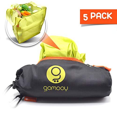 gomooy Shopper Sacchetti Spesa Borsa Riutilizzabile per Carrello Supermercato | Set 5 Shopping Tote Bag Donna Borse Passeggino | Innovativo Astuccio Contenitore | Trolley Bags Lotus |