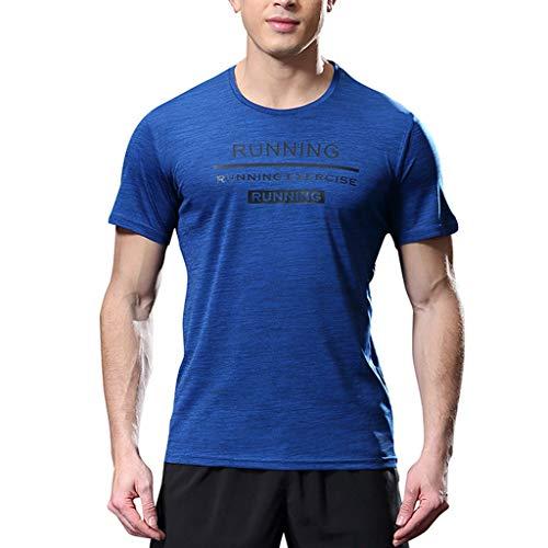 Zarupeng heren fitness T-shirt sneldrogend sweatshirt korte mouwen ronde hals comfortabel dun sport shirt top blouse