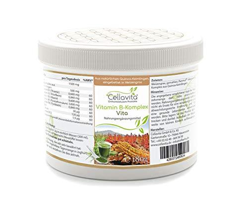 CELLAVITA Vitamin B-Komplex Vita | natürliche Quinoa-Keimlinge, eingebettet in Weizengras | Lückenloser Komplex aller B-Vitamine (180g)