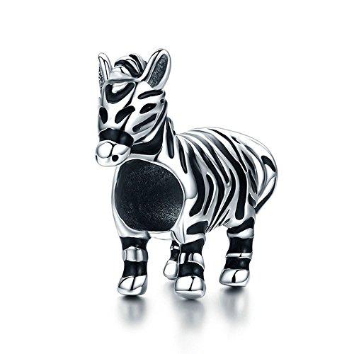 Zebra Fashion Nieuwe 925 Sterling Zilver Mooie Zebra Paard Bedel Kralen fit Originele Bedel Armband & Bangles DIY Sieraden SCC550
