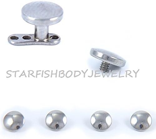 Starfish Body Jewelry 316L Surgical Steel Internally Threaded Round Dermal Top -14GA