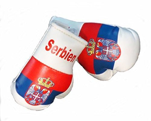 Sportfanshop24 Mini Boxhandschuhe SERBIEN, 1 Paar (2 Stück) Miniboxhandschuhe z. B. für Auto-Innenspiegel